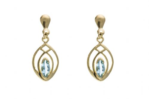 9 Carat Yellow Gold Blue Topaz Drop Earrings AP8038